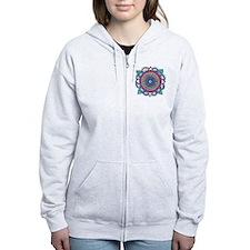 Medallion-Teal and Raspberry Zip Hoodie