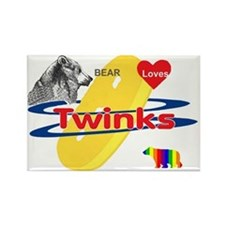 Bear Loves Twinks Rectangle Magnet