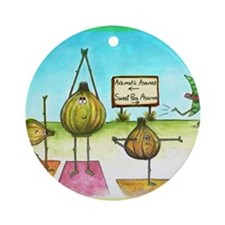 Sweet Pea and Garlic Yoga Round Ornament