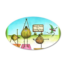 Sweet Pea and Garlic Yoga 35x21 Oval Wall Decal