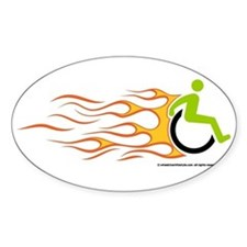 Wheelchair Flames for Him Oval Decal