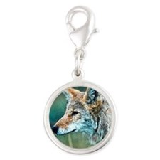 coyote Silver Round Charm