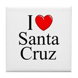 """I Love Santa Cruz"" Tile Coaster"