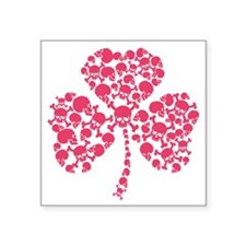 "Shamrock Skulls 2012 Pink Square Sticker 3"" x 3"""