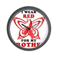 I Wear Red for my Brother Wall Clock
