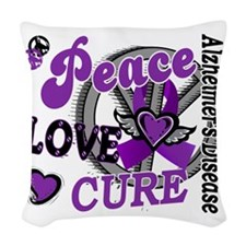 D Alzheimers Peace Love Cure 2 Woven Throw Pillow