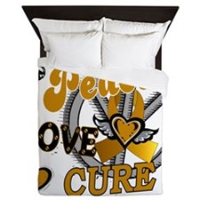D Appendix Cancer Peace Love Cure 2 Queen Duvet