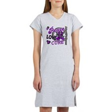 D Alzheimers Peace Love Cure 2 Women's Nightshirt