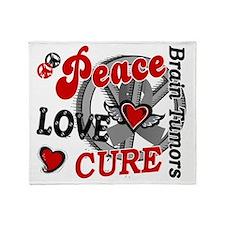 D Brain Tumor Peace Love Cure 2 Throw Blanket