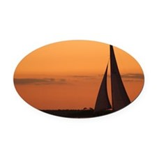 Sunset Sail Mug Oval Car Magnet