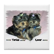 Yorkie puppies Tile Coaster