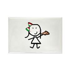 Girl & Pizza Rectangle Magnet (10 pack)