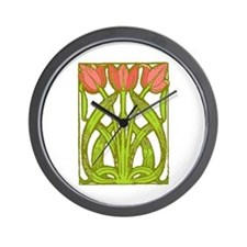 Art Nouveau Tulips -- Wall Clock