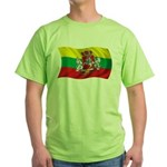 Wavy Lithuania Flag Green T-Shirt