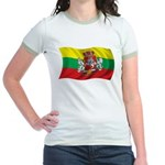 Wavy Lithuania Flag Jr. Ringer T-Shirt