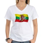 Wavy Lithuania Flag Women's V-Neck T-Shirt