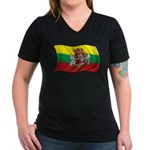 Wavy Lithuania Flag Women's V-Neck Dark T-Shirt