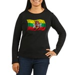 Wavy Lithuania Flag Women's Long Sleeve Dark T-Shi