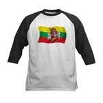 Wavy Lithuania Flag Kids Baseball Jersey