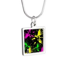 PaintSplat Silver Square Necklace
