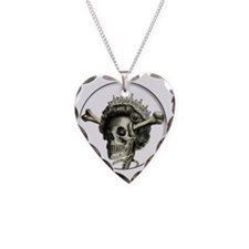 Queen di-faced button Necklace Heart Charm