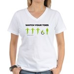 Watch Your Toes Women's V-Neck T-Shirt