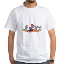 Shark Run White Text Shirt