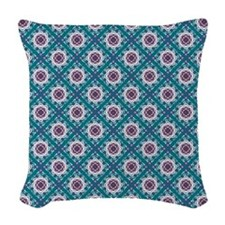 Bubbling Blooms-Teal 18 Woven Throw Pillow