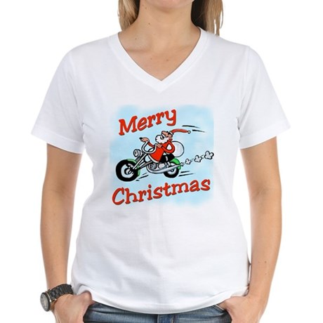 Motorcycle Santa Women's V-Neck T-Shirt