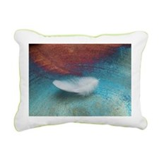 White Feather Rectangular Canvas Pillow