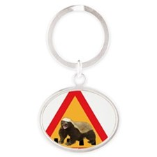 HAT_honey_badger_crossing_png Oval Keychain