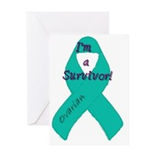 Ovarian_awareness_ribbon_round Greeting Card
