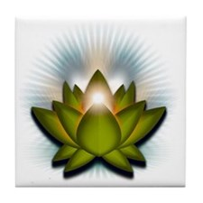 Chakra Lotus - Heart Green Tile Coaster