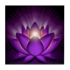 Chakra Lotus - Crown Violet - greetin Tile Coaster