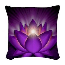 Chakra Lotus - Crown Violet -  Woven Throw Pillow