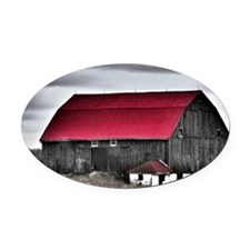 Red Roof Oval Car Magnet