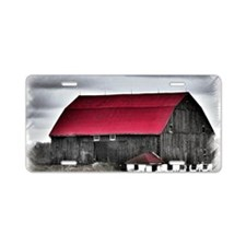 Red Roof Aluminum License Plate