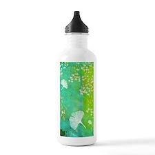 Green GInkgo tile_cell Water Bottle