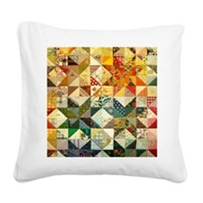 Fun Patchwork Quilt Square Canvas Pillow
