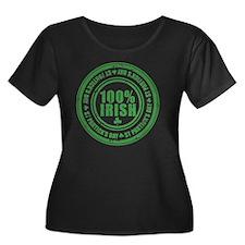 100 perc Women's Plus Size Dark Scoop Neck T-Shirt