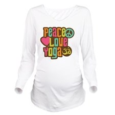 PeaceLoveYoga1sq Long Sleeve Maternity T-Shirt