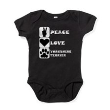 Peace Love Yorkshire Terrier Baby Bodysuit