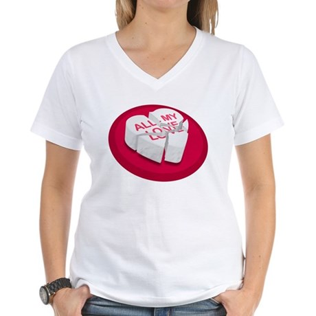 All My Love Broken Heart Women's V-Neck T-Shirt