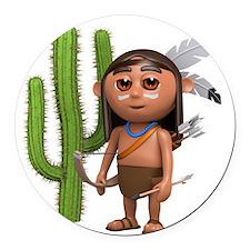 3d-indian-cactus Round Car Magnet