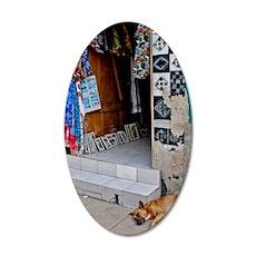 DOG ASLEEP 35x21 Oval Wall Decal