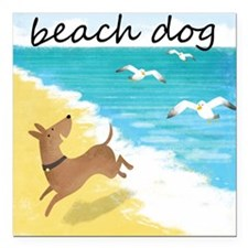 "beach-dog-1729 Square Car Magnet 3"" x 3"""