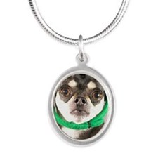 St. Patricks Day Dog Silver Oval Necklace