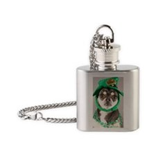 St. Patricks Day Dog Flask Necklace