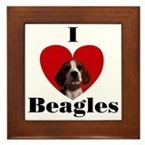 I Love Beagles Framed Tile