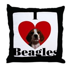 I Love Beagles Throw Pillow